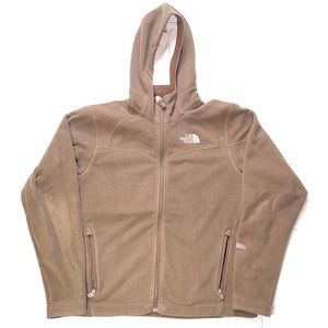 Women's Small North Face Jacket Hoodie Zip Up Brow